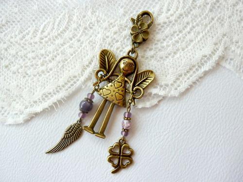 Andělka pro štěstí - na kabelku, klíče...