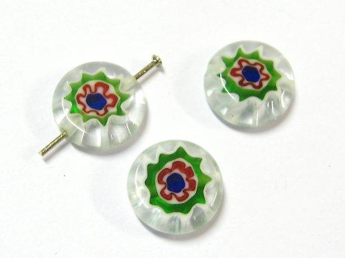 1100245/Placička Millefiori bílo/zelená, 1 ks