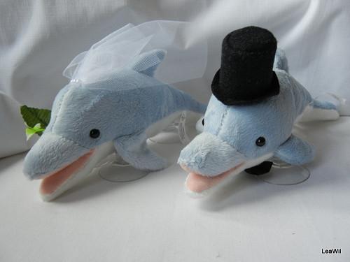 Svatební plyšáci na auto - delfíni