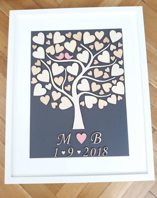 Svatební strom  vč. rámu  40x50 cm