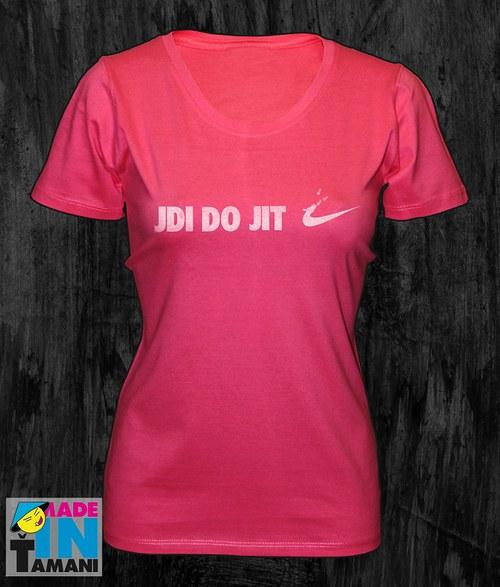 Dámské růžové tričko Jdi dojit 02