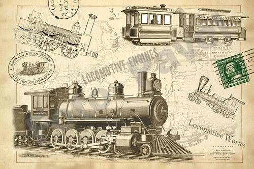 Vintage  motivy - cestování - vlak