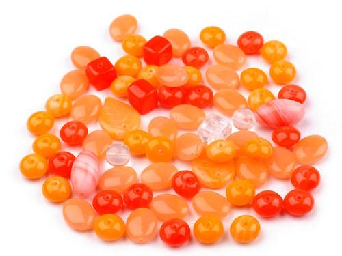 Korálky skleněné MIX oranžový - 50g