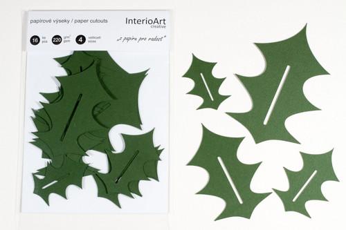 Papírové výřezy_lístek cesmíny - zelená