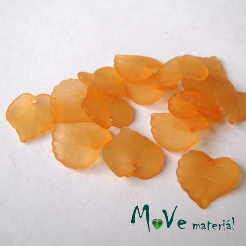 Akrylové transparentní lístečky, 15ks, oranžové