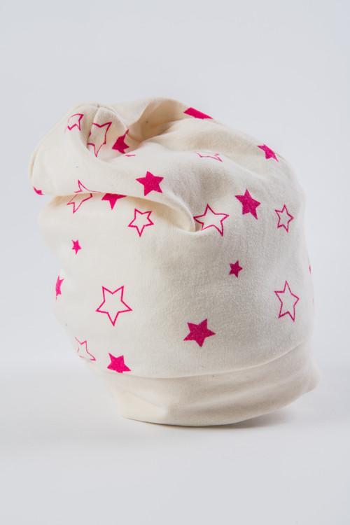 Hvězdičková čepice béžová s růžovými hvězdami