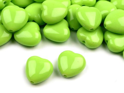 Plastové korálky 13x13mm srdce / zelené (10 ks)