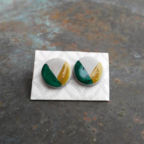 Betonové naušnice kulaté- emerald/gold