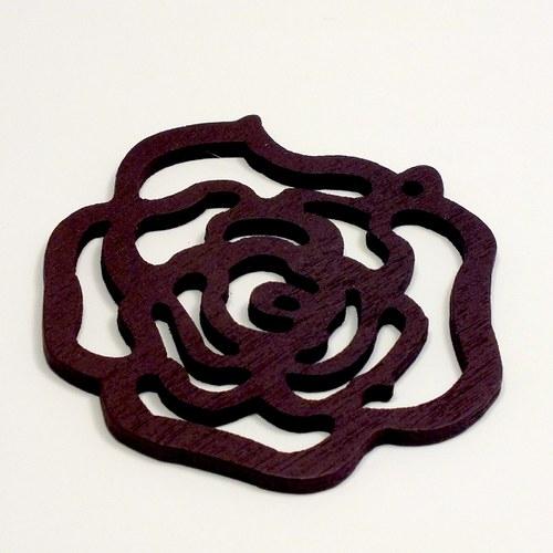 Dřevěný přívěsek - hnědá růže