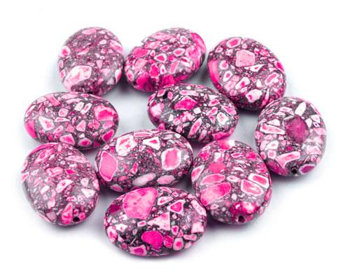 korálky marble růžové 18 x 14mm, 2ks