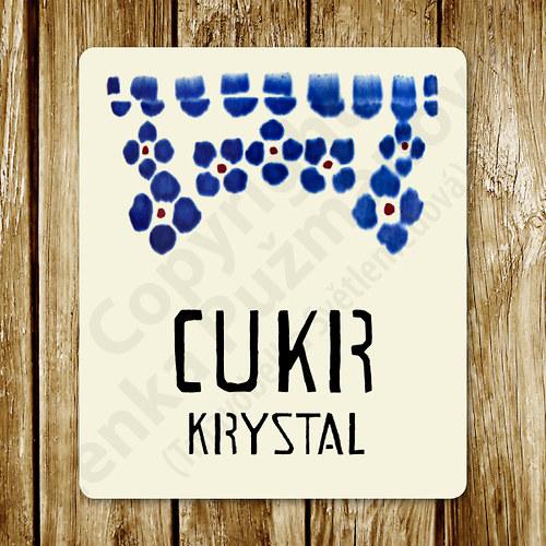 Cukr krystal - samolepka na nádobu