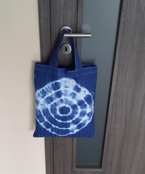 Batikovaná taška námoř.modř- s kruhy