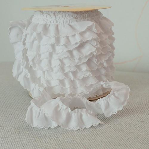 Řasený dekorovací proužek bílý 20 mm