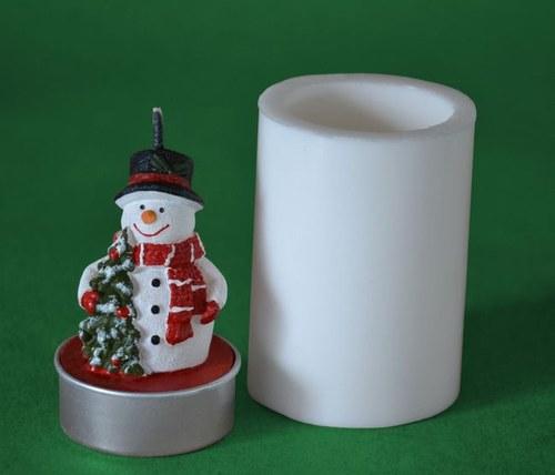 Forma na čaj. svíčku - Sněhulák se stromečkem