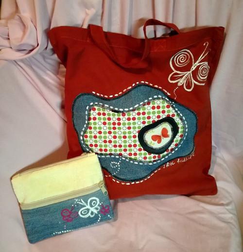 MOTÝL - plátěná taška s riflovou kapsičkou