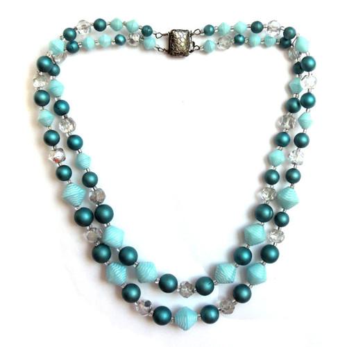 Dvouřadé korále, náhrdelník, broušené a lisované
