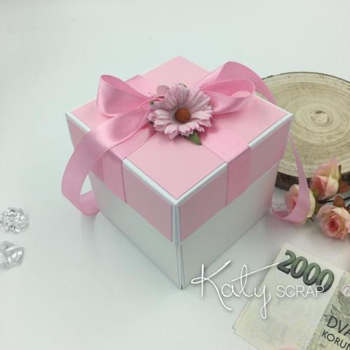 KRABIČKA svatební na peníze růžová