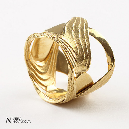 Prsten Sepiserie - pozlacené stříbro