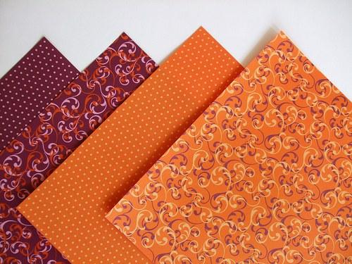 Sada papírů origami - Orange/Violet - 20x20