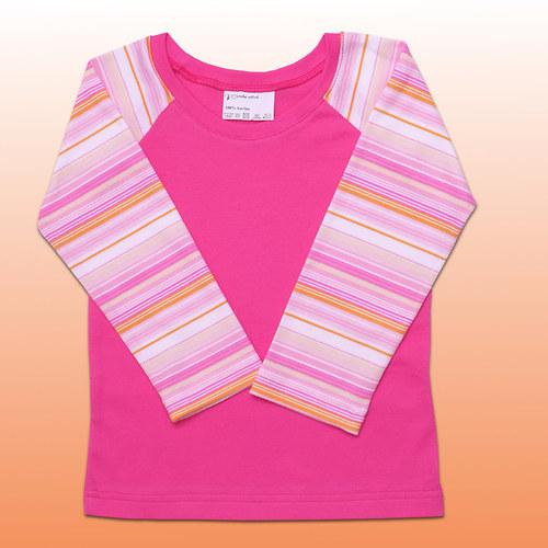 Tričko růžové proužkové v.116