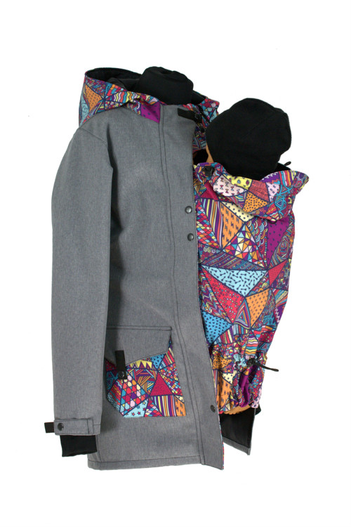 Soft.kabát nosící,zimní-šedý,žíhaný+bláznivé trojú