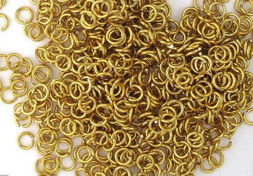kroužky eloxovaný hliník 3,38/08 zlatá 100ks