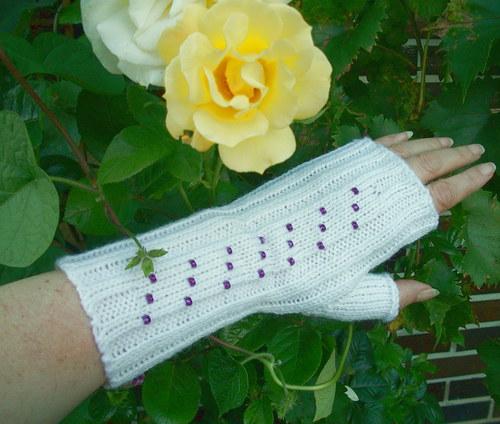 Pletené návleky na ruce - bílé