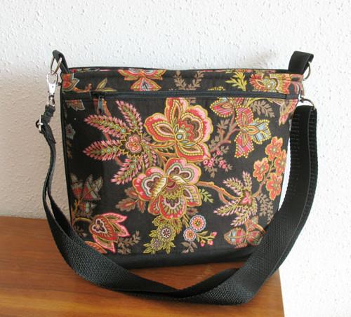 kabelka  černá s dekorativními květy IV