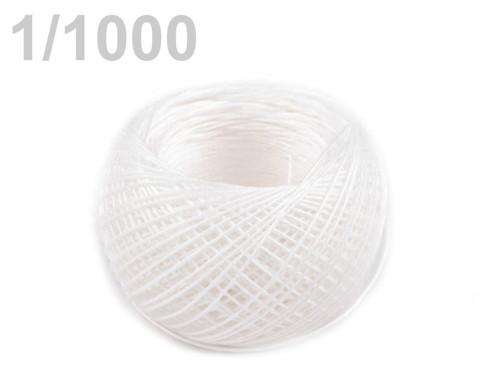 Nit lněná - pevná, hlazená, 50m Bílá přírodní