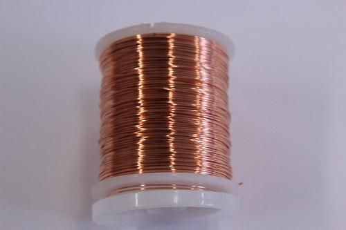 Měděný drátek 0,8mm - měď, návin 8,5-9m