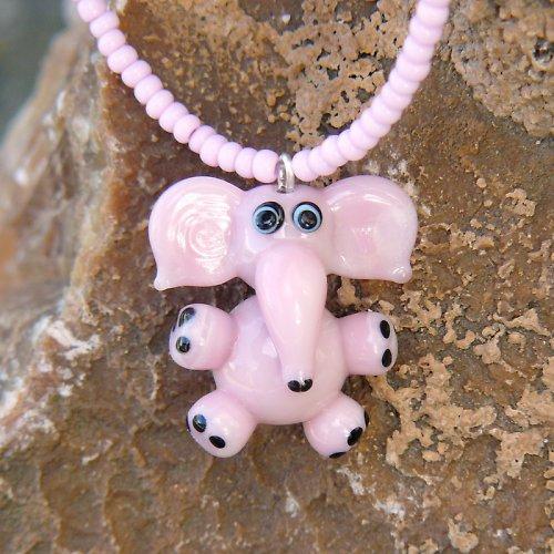 Růžový slon - vinutá perle