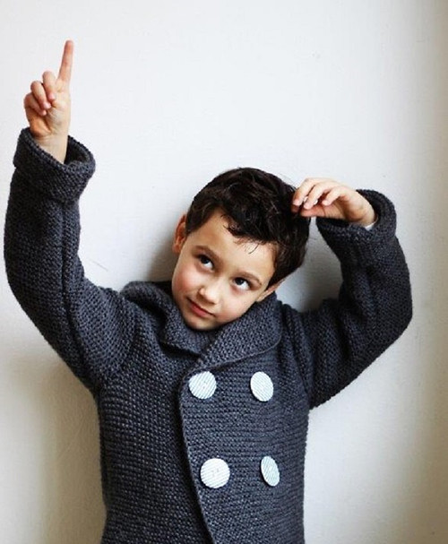 Šedý dětský svetr-kabátek s kapuckou