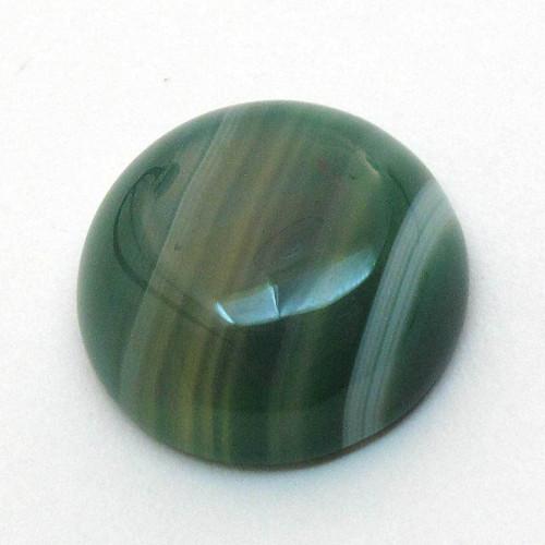 Kabošon zelený pruhovaný achát kruh 16mm
