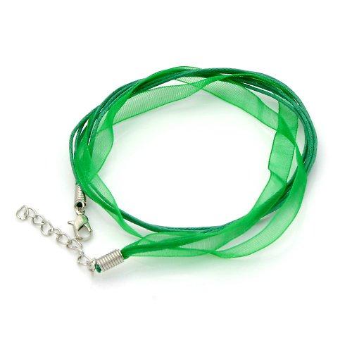 Organza a voskované šňůrky, středně zelená