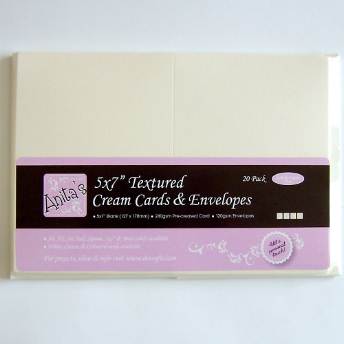 Obálky a karty s texturou velké - CREME 5 ks