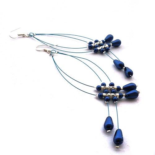 Modré dešťové náhrdelníčky do oušek II. voskované