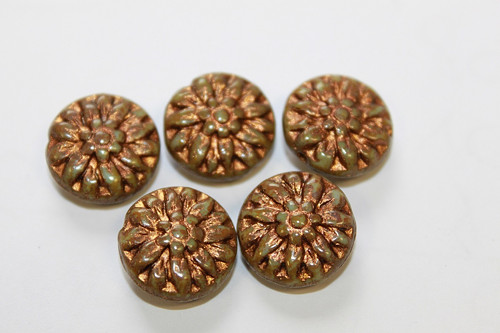 Kytka - 14mm - tyrkys/picasso bronz - 1ks - 5kč