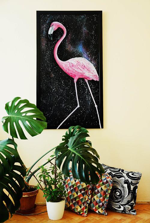 Velká malba Plameňák v rámu