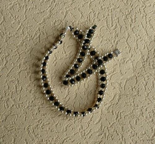komplet náhrdelník + náramek - černý