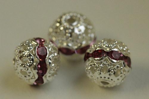 Šatonové kuličky 10mm - růžové - 3ks
