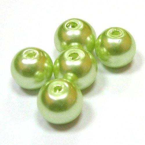 Perly voskové - 8 mm - nažloutlozelené - 10 ks