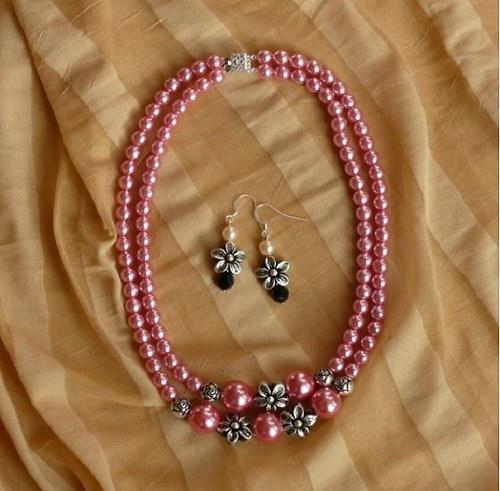 květinový set - náhrdelník + náušnice - růžový
