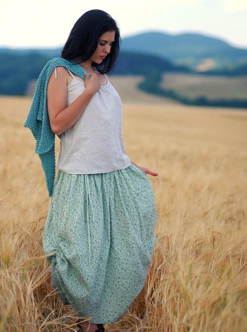 Maxi sukně z mušelínu - mentolová kytková