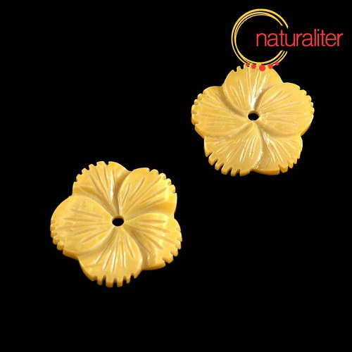 Perleťový květ 24mm žlutý
