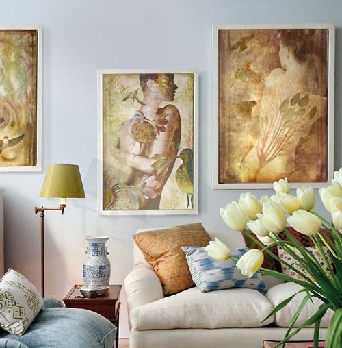"""Sada tří obrazů \""""Ptačí dívky\"""" 40 x 60cm"""