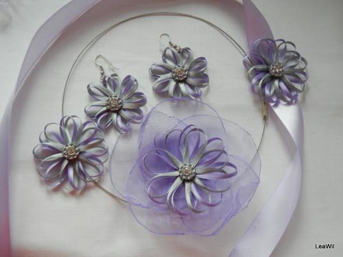 Stužkové květinky sada velká fialkovo stříbrná