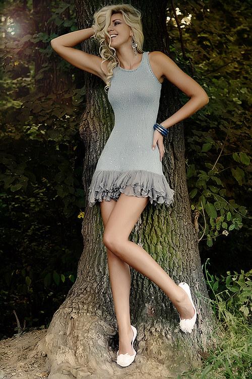 Popis - návod na pletené šaty Silver Rain