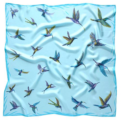 Hedvábný šátek KOLIBŘÍCI - modrý