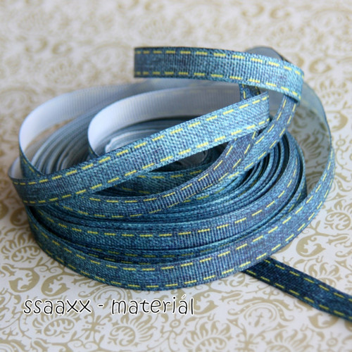 Rypsová stuha ~ 10 mm ~ štepování na džínové
