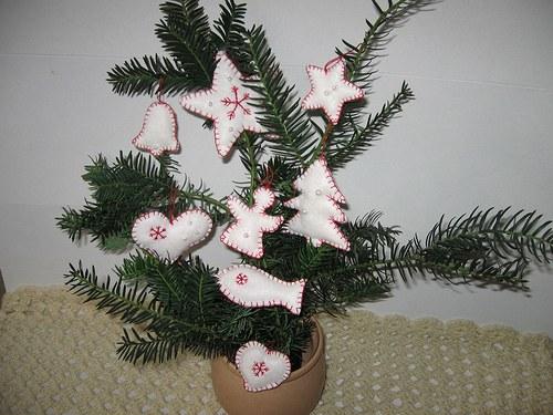 Ručně  šité  vánoční  ozdoby  sada 8ks - dekorace